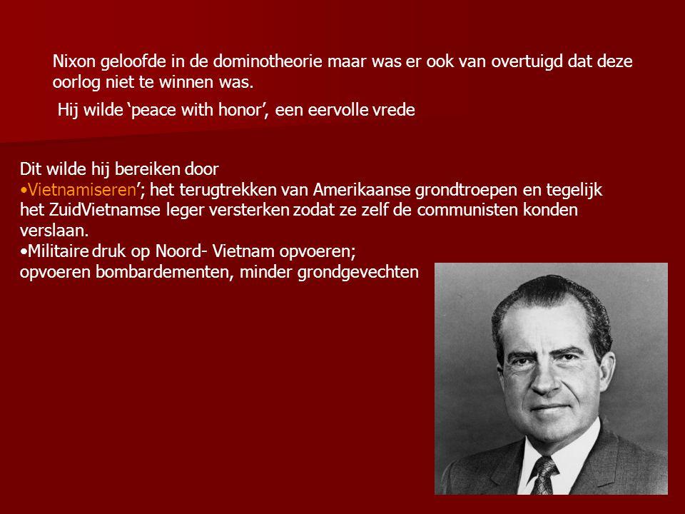 4.2 Amerika blaast de aftocht In januari 1969 beginnen de vredesonderhandelingen in Parijs Aanwezig: Noord en Zuid Vietnam, de Vietcong en de Verenigde Staten