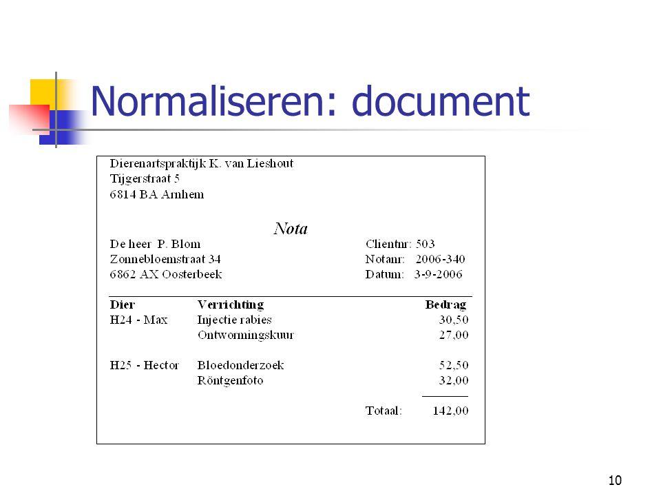 11 Normaliseren: NFNF NFNF (of: NF²) = Not in First Normal Form NOTA (Naam, Adres, Plaats, Postcode, ClientNr, NotaNr, NotaDatum, {DierId, DierNaam, Verrichting, Bedrag})