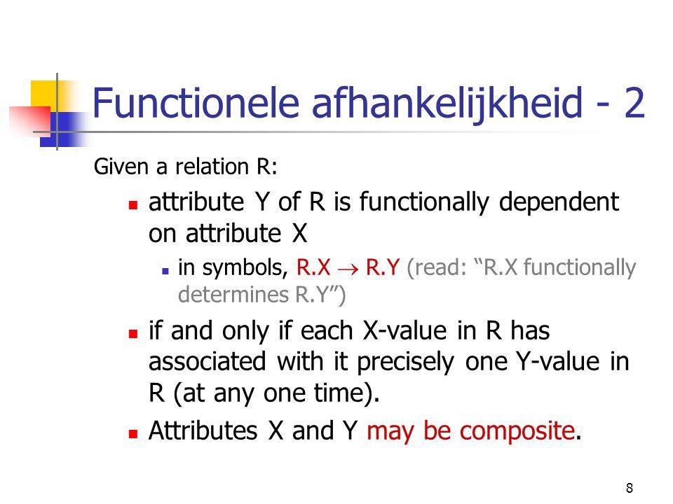 9 Sleutels Candidate key: unique niet-reduceerbare combinatie van attributen (indien composite) fungeert als determinant voor andere attributen in de tuple Primary key: een candidate key gekozen als identifier Foreign key: kruisverwijzing naar primary key