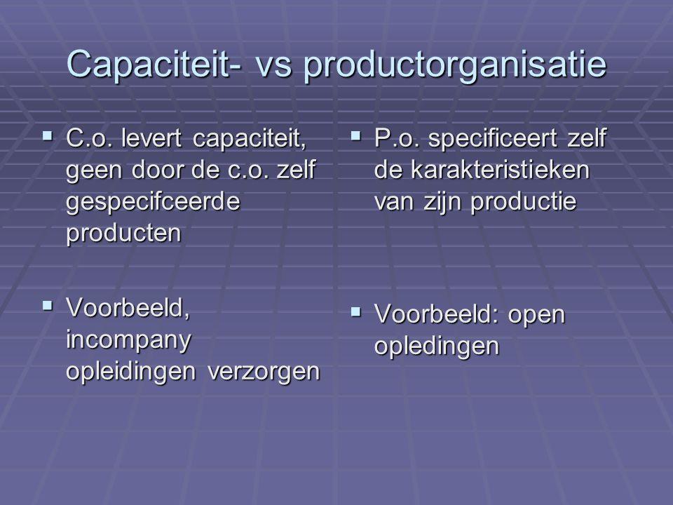 Inrichting capaciteit- vs productorganisatie  Grote verschillen in inrichting van de volgende functies:  Marketing  Financiering  Control Niet zo grote verschillen in productie zelf