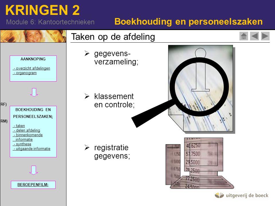 KRINGEN 2 Module 6: Kantoortechnieken  Gegevens be- en verwerking  verstrekking van gegevens- en syntheses;  aanzet tot interpretatie;  klasseren en archiveren.