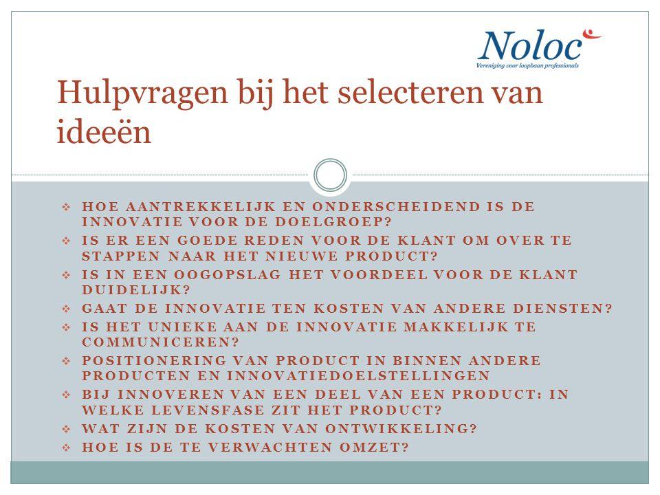 Inventarisatie innovatieve ideeën in eigen kwaliteitskring Thema Markt LoopbaanGedrag…..