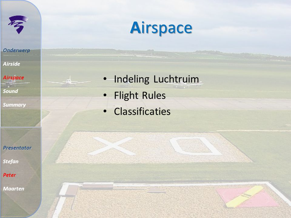 Airspace O Onderwerp Airside Airspace Sound Summary Indeling Luchtruim Flight Rules Classificaties Presentator Stefan Peter Maarten