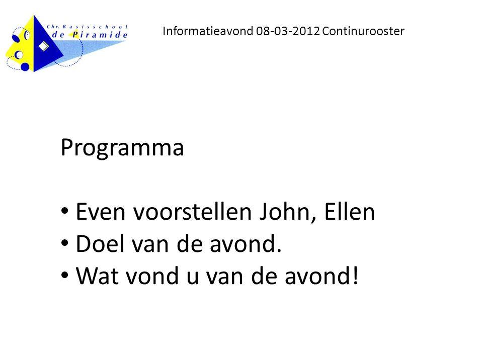 Informatieavond 08-03-2012 Continurooster Doel: U als bezoeker weet wat afstemming inhoud.