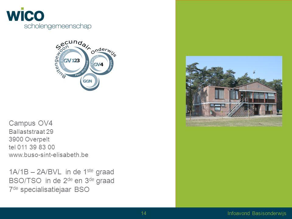 Scholen of 'campussen' WICO Campus Salvator – Hamont-Achel WICO Campus Sint-Jozef – Lommel WICO Campus Sint-Hubertus – Neerpelt WICO Campus Sint-Maria – Neerpelt WICO Campus Mater Dei – Overpelt WICO Campus TIO – Overpelt BuSO BBO TIO – Overpelt BuSO Sint-Elisabeth – Wijchmaal WICO Internaat CVO Noord-Limburg 15Infoavond Basisonderwijs