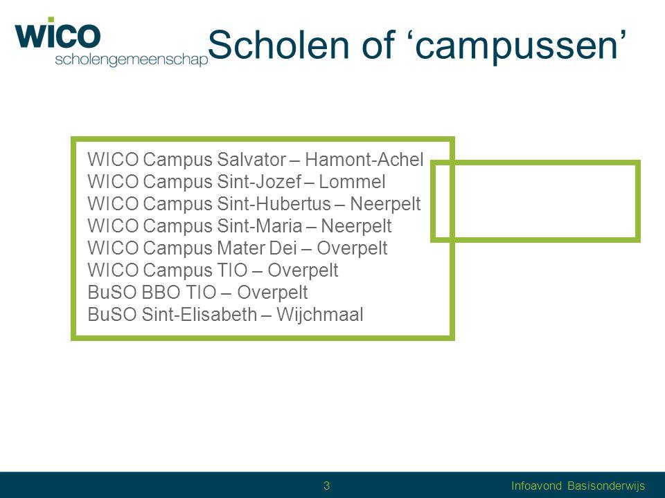 Scholengemeenschap WICO = grote scholengemeenschap 5.200 leerlingen en 1.000 personeelsleden WICO = 7 'verschillende' scholen of campussen met eigen studieaanbod met eigen schoolklimaat verbonden door … 4Infoavond Basisonderwijs