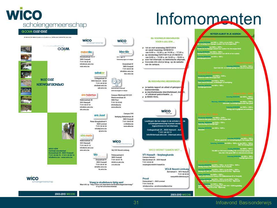 32 Inschrijvingen 11 jaar 12 jaar secundair onderwijs aanmelding: identiteitskaart definitieve inschrijving vanaf 30 juni: getuigschrift, BaSO-fiche graag voor 9 juli 2014 32Infoavond Basisonderwijs