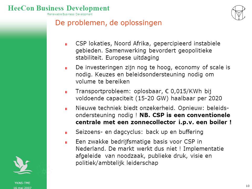 YKNS-TME 16 mei 2007 Renewable Business Development HeeCon Business Development 11 Noord Afrika en energietransitie, energie- strategische overwegingen Noord Afrika beschikt over grote voorraden fossiele brandstoffen Energie-afhankelijkheid van Rusland heeft negatieve consequenties, Noord Afrika is een uitstekend alternatief Vergroting van gas- en olie-import uit Noord Afrika tegen gezamenlijke grootschalige investeringen in CSP biedt een strategisch aantrekkelijk perspectief Nederland gasland en Nederland duur- zaam zijn goed te combineren, een perfect voorbeeld van energietransitie Noord Afrika beschikt over grote voorraden fossiele brandstoffen Energie-afhankelijkheid van Rusland heeft negatieve consequenties, Noord Afrika is een uitstekend alternatief Vergroting van gas- en olie-import uit Noord Afrika tegen gezamenlijke grootschalige investeringen in CSP biedt een strategisch aantrekkelijk perspectief Nederland gasland en Nederland duur- zaam zijn goed te combineren, een perfect voorbeeld van energietransitie