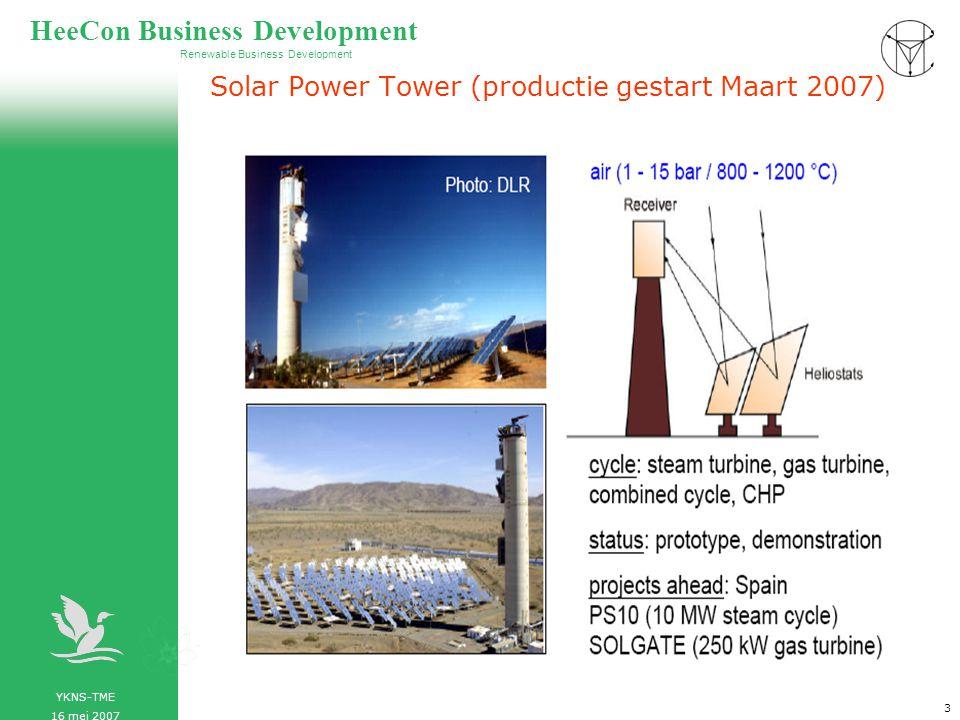 YKNS-TME 16 mei 2007 Renewable Business Development HeeCon Business Development 4 Parabolische trogspiegels in Kramer Junction