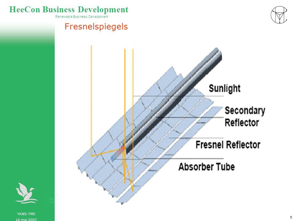 YKNS-TME 16 mei 2007 Renewable Business Development HeeCon Business Development 6 Parabolische schotel collector met Stirling motor