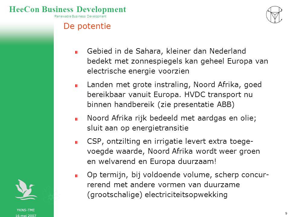 YKNS-TME 16 mei 2007 Renewable Business Development HeeCon Business Development 10 De problemen, de oplossingen CSP lokaties, Noord Afrika, gepercipieerd instabiele gebieden.