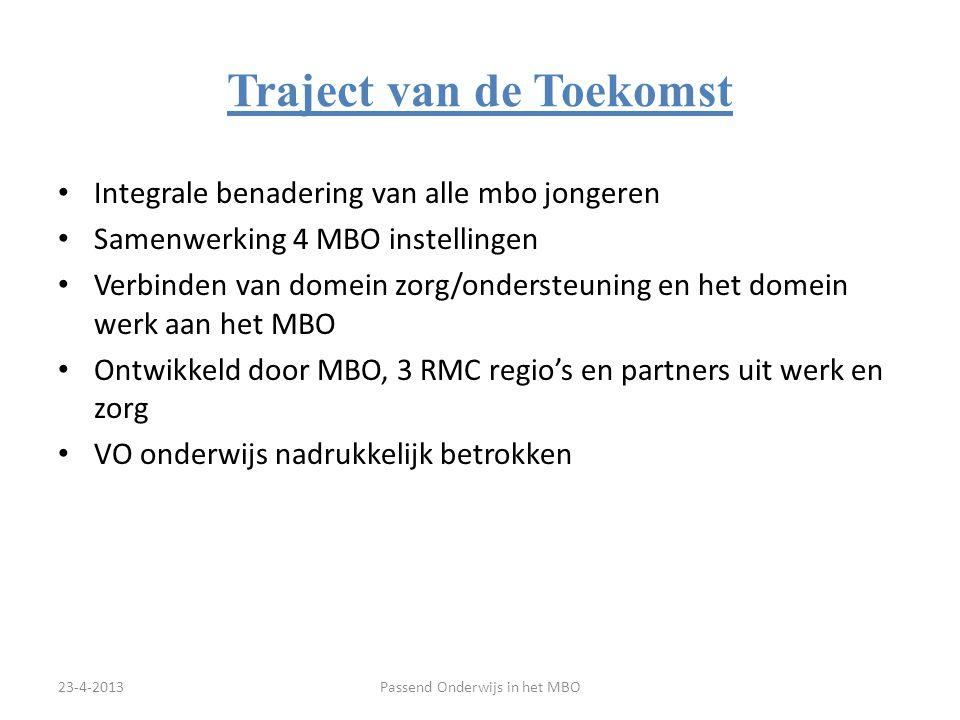 Aanpak MBO's regio Groningen Visie, beleid en organisatie Passend Onderwijs i.o.: Basisbegeleiding + arrangementen Passend Onderwijs Begeleiding & Advies Team (BAT) op elke Mbo-school Samenwerking met SWV-VO (deelname WIG) VPI voor het MBO Samenwerking met gemeenten / hulpverlening ROC's en AOC werken samen m.b.t.