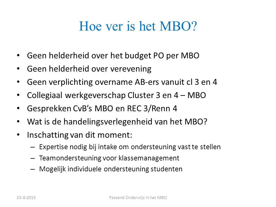 Stellingen 1.Het MBO moet alle leerlingen uit het VO/VSO/PRO kunnen plaatsen 2.Het MBO moet aansluiten bij het SWV-VO 3.Het VO/VSO/PRO is verantwoordelijk voor volledige informatieoverdracht van leerlingen naar het MBO 4.Het VO/VSO/PRO moet goed op de hoogte zijn van de ondersteuningsprofielen van Mbo-scholen in de regio 5.Het VO en het Mbo moeten samen arrangementen bieden voor leerlingen die moeite hebben met de overstap (bijv.