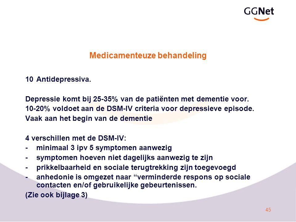 46 Medicamenteuze behandeling 10Antidepressiva.