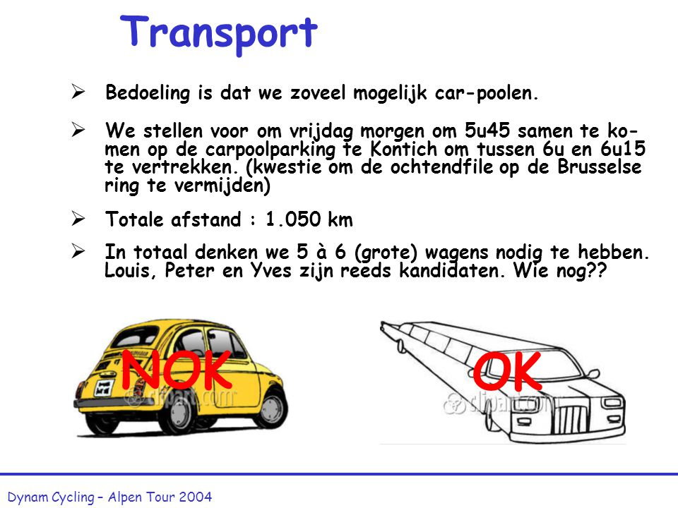 Transport Dynam Cycling – Alpen Tour 2004  Bedoeling is dat we zoveel mogelijk car-poolen.