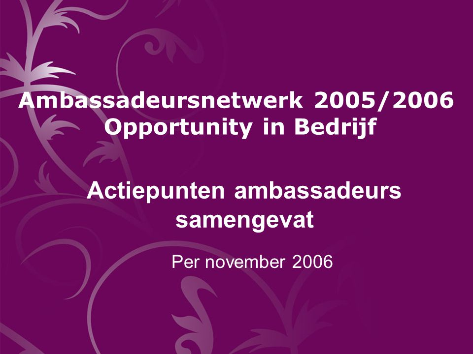 Jos Nijhuis (1) Voorzitter Raad van Bestuur PWC Nederland 1.Ontwikkeling en verankering diversity & inclusion beleid door o.a.:  integratie in Human Capital plannen Line of Service Boards  diversity Key Performance Indicators op business unit niveau  benoeming diversity champions  oprichten vrouwennetwerk 2.Diversity awareness vergroten door o.a.