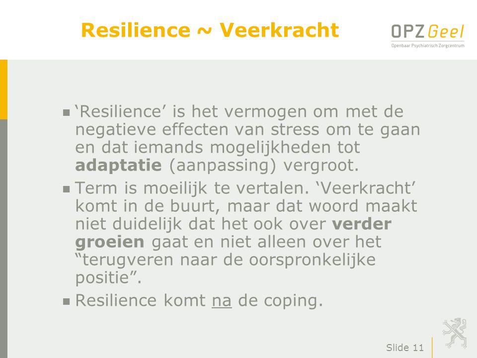 Slide 12 n Leven vanuit resilience leidt tot een ander perspectief op problemen.