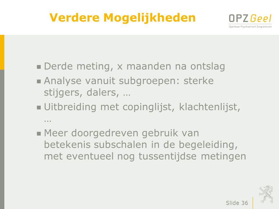 Slide 37 Bedankt voor uw deelname Dagkliniek Volwassenen OPZ Geel n Secretariaat tel.: 014 57 91 22 n Teamcoördinator: Joeri Van Looy tel.: 014 57 92 28 e-mail: joeri.vanlooy@opzgeel.bejoeri.vanlooy@opzgeel.be OPZ Geel, Dr.