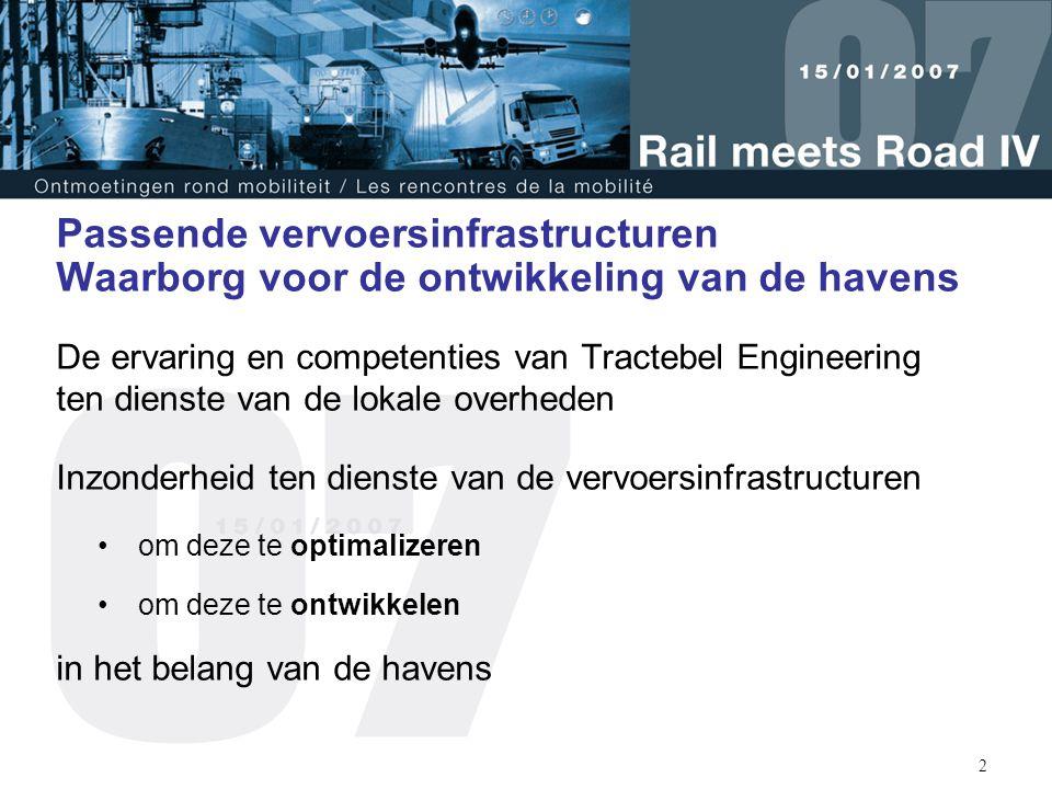 3 Tractebel Engineering : Gespecialiseerd in Energie en Infrastructuur Entiteiten die actief zijn in transport en mobiliteit : Corys T.E.S.S.