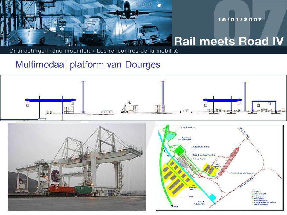 26 Multimodaal platform van Dourges 20 treinen per dag - overdrachtcapaciteit 200.000 wissellaadbakken/jaar Logistieke zones Oostelijke zone: 70.000 m² Westelijke zone: 270.000 m² Sporenbundel 13 sporen van 750 m, rangeer- en dienstsporen voor locomotieven 3.Studies en realisaties