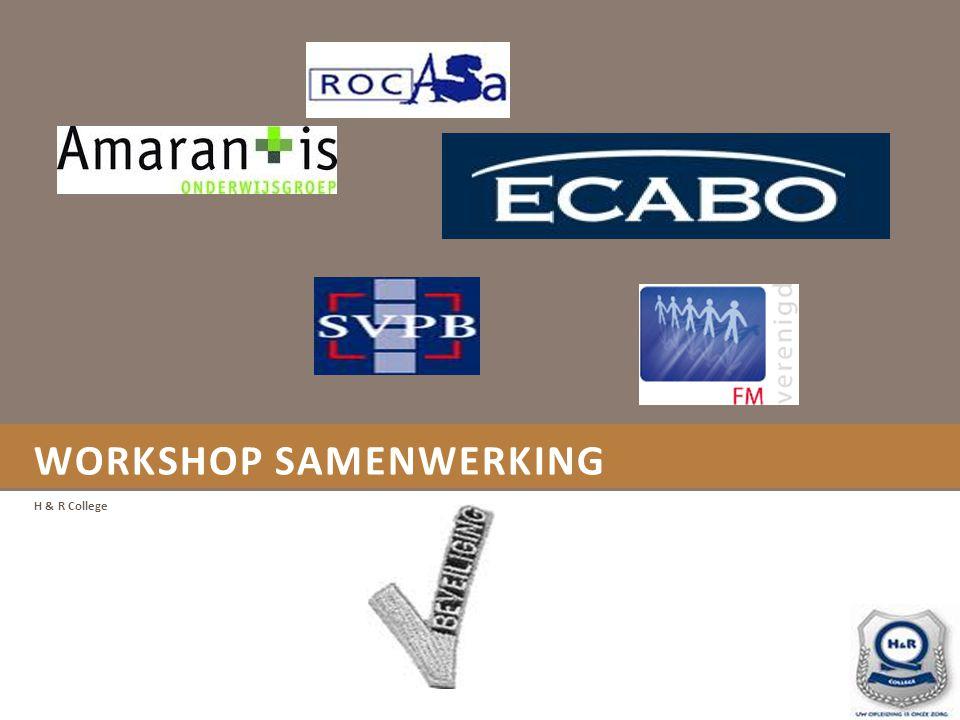 WORKSHOP SAMENWERKING Doel van de Workshop Deskundigheidsbevordering voor de docent door voorbeelden van best practices van de samenwerking docent/ bedrijf.