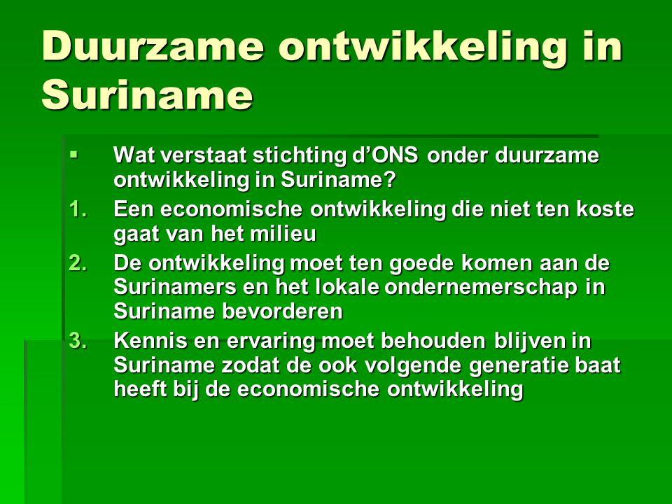Behoud productie in Suriname  Duurzame ontwikkeling betekent ook productie in eigen land  Suriname ontwikkelt zich in de richting van een import en exportland (kleine binnenlandse afzetmarkt, winst maken)  De toerist die naar Suriname komt wil echter geen concentraatsap, maar verse sap uit Suriname.