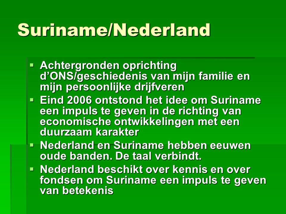 Stichting d'ONS  Stichting De Onze  D'ONS is een Nederlands-Surinaamse netwerkorganisatie  D'ONS is initiator en makelaar  Doel: uitwisseling van kennis en ervaring