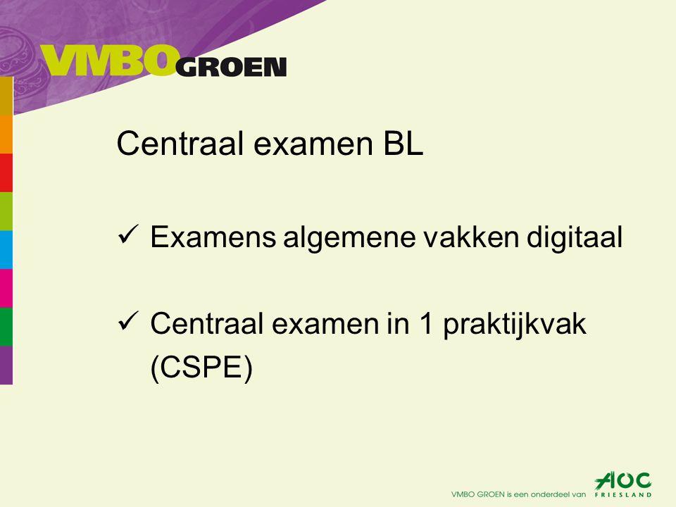 Centraal examen KL Examens algemene vakken op papier Centraal examen in 2 praktijkvakken (CSPE)