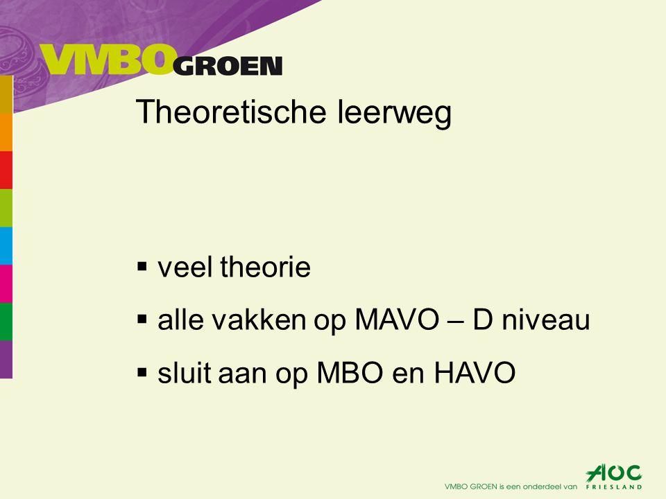 Gemengde leerweg  niveau gelijk aan TL  theorie en praktijk  vakken op MAVO – D niveau  sluit aan op MBO