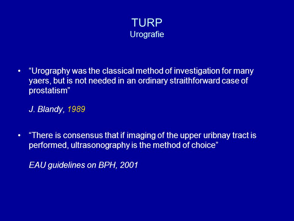 TURP Interne urethrotomie Percentage per ziekenhuis