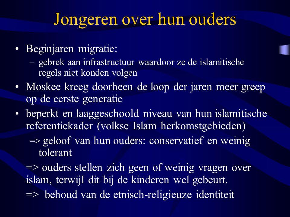 Jongeren over hun opvoeding meest significante impact op hun opvoedingspatroon en waardenbeleving: gender navolgen van de religieuze voorschriften (ortho-praxis ) –=> nadruk op verboden zaken, schuld, schaamte, straf –=> een beeld van een straffende 'Allah een sterk 'wij-zij' gevoel –geen voorbeeld nemen aan 'Belgische meisjes' die het zedenverval en de decadentie van het Westen in zich dragen veranderingen associëren met de westerse samenleving – een bedreiging voor hun eigenheid.