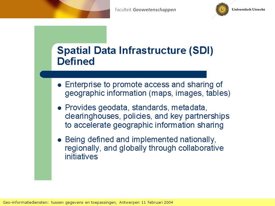 National Spatial Data Infrastructure 1 Geo-informatie diensten: tussen gegevens en toepassingen, Antwerpen 11 februari 2004