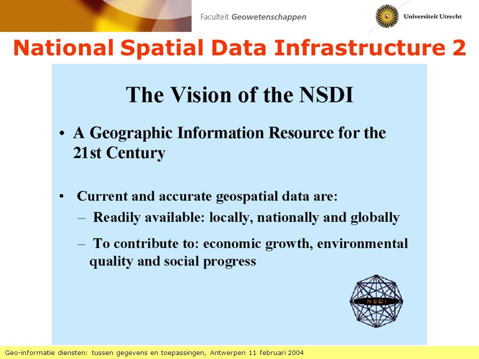 National Spatial Data Infrastructure 3 Geo-informatie diensten: tussen gegevens en toepassingen, Antwerpen 11 februari 2004 Implementatie NSDI: Federal Geographic Data Committee