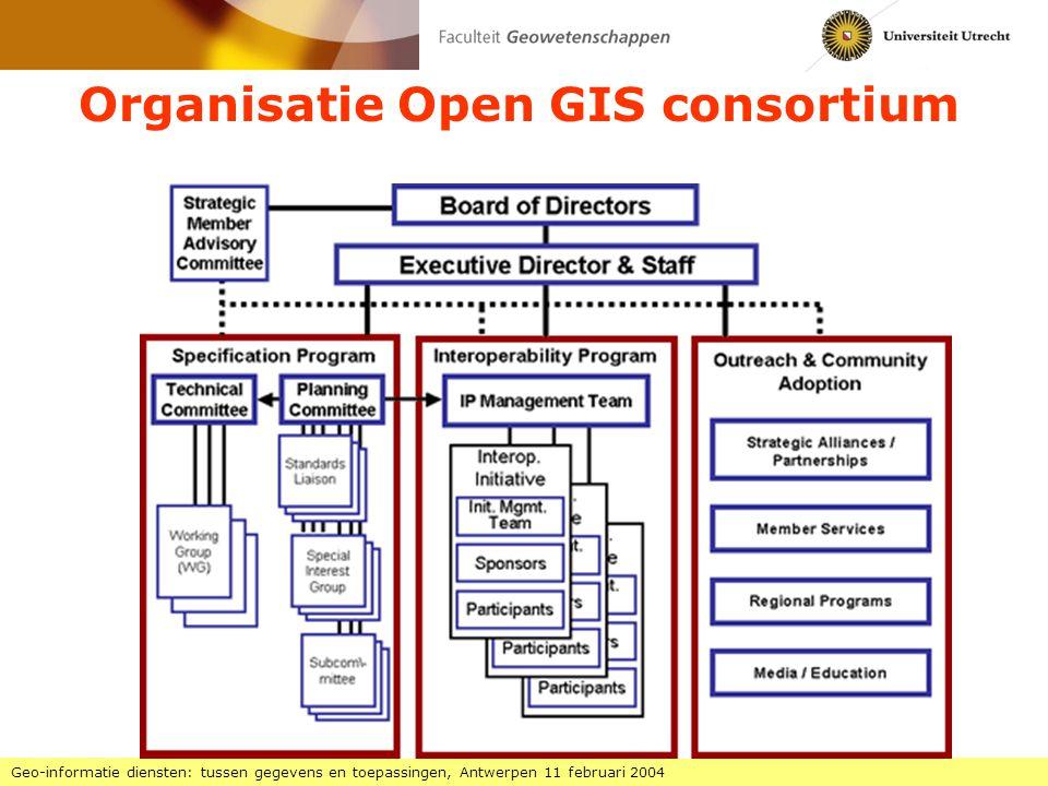 Interoperabiliteit in drie lagen Geo-informatie diensten: tussen gegevens en toepassingen, Antwerpen 11 februari 2004