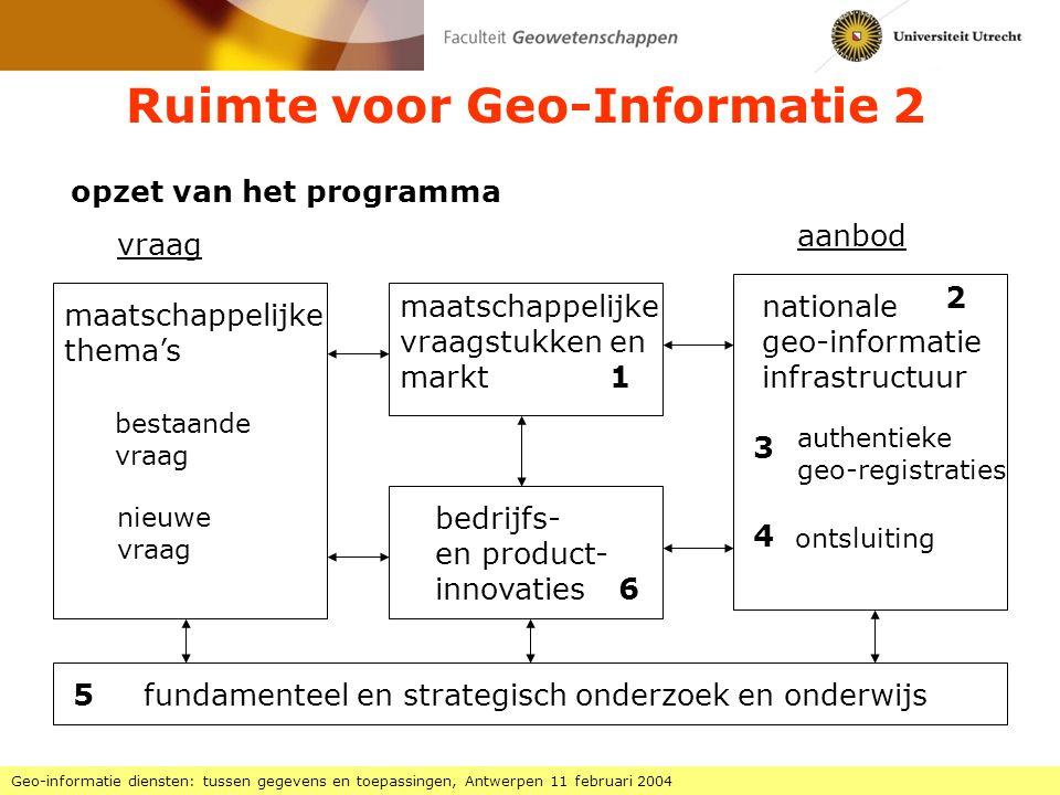 GIS-Vlaanderen 1 Geo-informatie diensten: tussen gegevens en toepassingen, Antwerpen 11 februari 2004