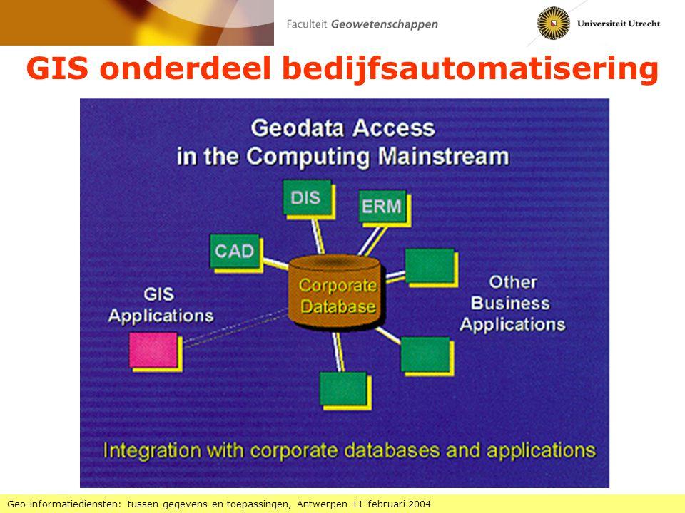 Ontwikkelingsfasen GIS Geo-informatiediensten: tussen gegevens en toepassingen, Antwerpen 11 februari 2004 1970-1980 innovatie: technische specialisten fundamenteel onderzoek 1995-2005 verspreiding gebruik op grote schaal gebruik voor veel meer toepassingen ook bedrijfs-GIS en consumenten-GIS mobiel-GIS (GIS+GPS), web-GIS (interactief-GIS) 1990-1995 gebruik eindgebruikers, commerciële aanbieders praktische toepassingen 1980-1990 ontwikkeling specialistische toepassers, promotie technologie hulpmiddel voor onderzoek, proefprojecten