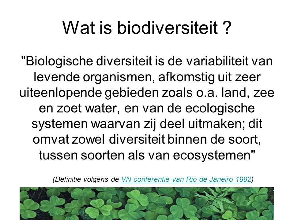 Diversiteit van het leven Op drie verschillende niveau's: Genetische diversiteit, Diversiteit op soortniveau, Diversiteit in ecosystemen.