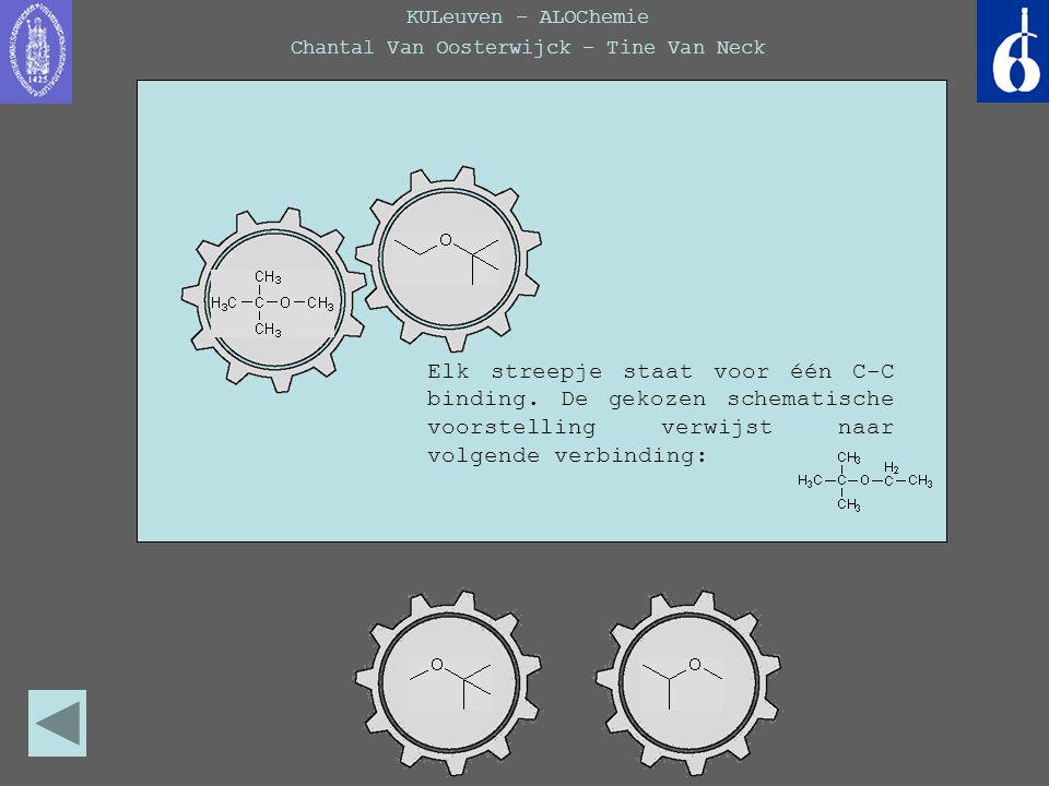 KULeuven – ALOChemie Chantal Van Oosterwijck – Tine Van Neck Elk streepje staat voor één C-C binding, hier zou het dus gaan om de volgende verbinding: