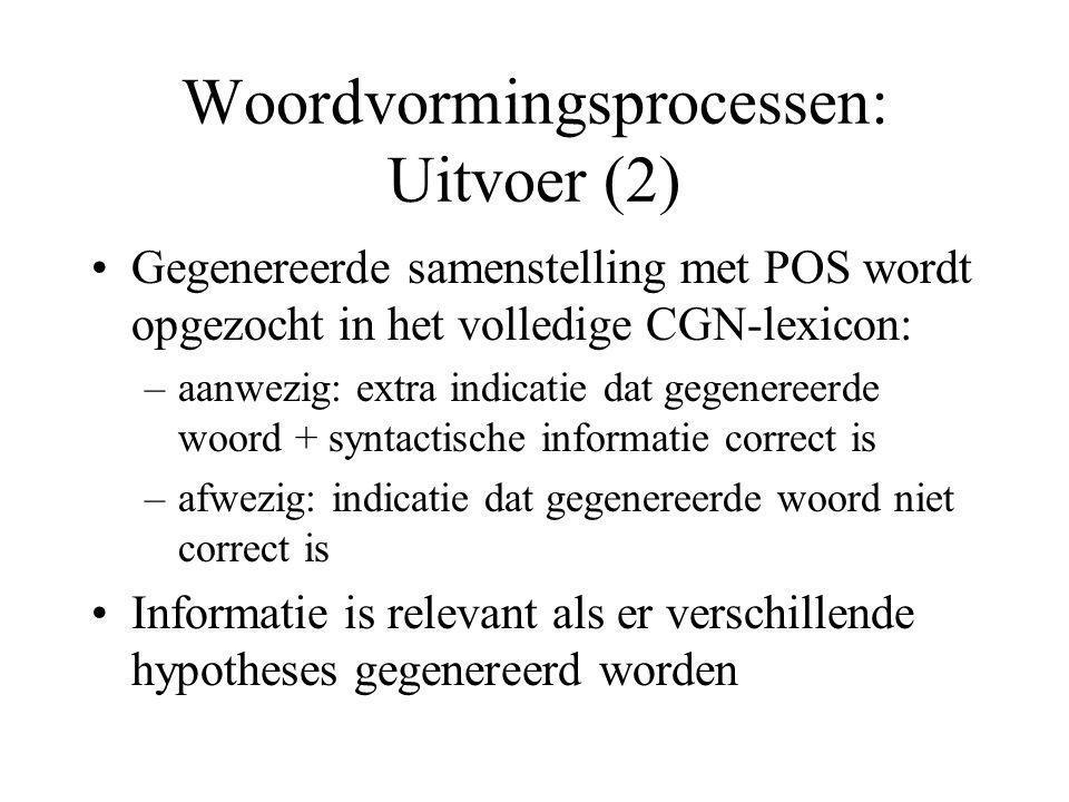 Woordvormingsprocessen: Software Voorlopig Perl-script beschikbaar dat samenstellingen genereert obv woordonderdelen en woordvormingsregels Databases voor script: CGN-lexicon, QWL, WL Documentatie bij Perl-script beschikbaar