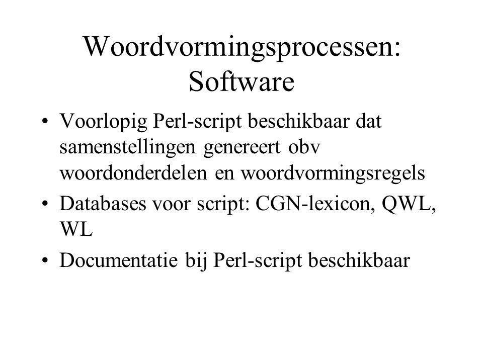 Lexicon: Inhoud Vertrekpunt: CGN-lexicon (570.000 entries) Reductie naar één entry per woordvorm per POS (rest: 300.000 entries) Verwijdering van samenstellingen (behalve scheidbare werkwoorden) (rest:200.000 entries)