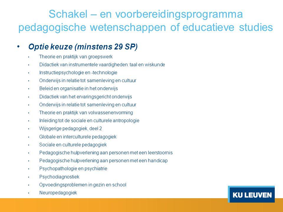Master of Science in de educatieve studies 1.Masterproef (24 SP) - verplicht 2.
