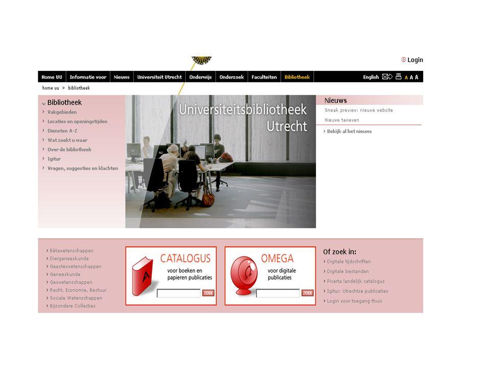 TOEGANG: campus en thuis www.library.uu.nlwww.library.uu.nl = UniversiteitsBibliotheek (UBU) Thuis toegang tot de digitale bestanden en tijdschriften via de link Login voor toegang thuis Login voor toegang thuis