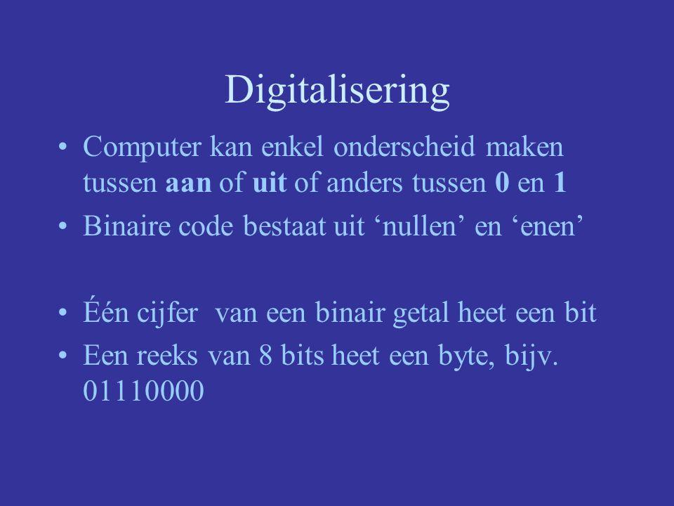 Digitalisering Vertalen naar binaire code Kwestie van afspraken maken (verschillende bestandsformaten) –Getal = binaire code –Letterteken = code –foto -> pixel = code –geluid -> fractie seconde = code