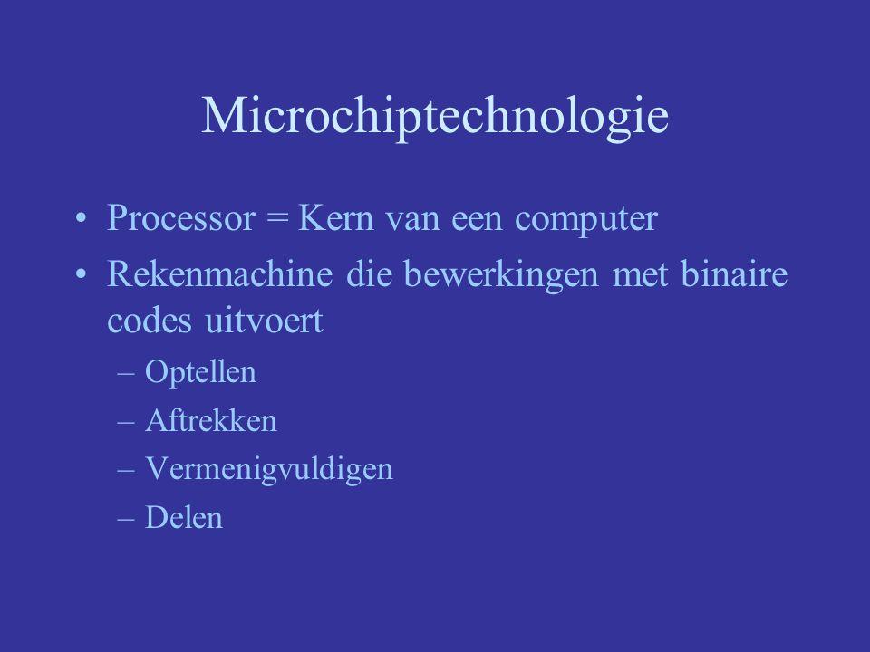 Microchiptechnologie Processor bepaalt de snelheid (Mhz) –Sinds 1940 -> performantie is 32 keer verdubbeld –Nu Pentium III, snelheid van 800 Mhz