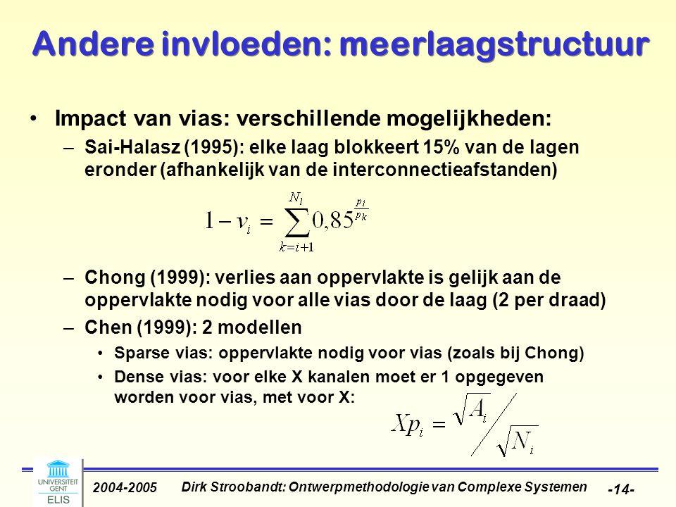 Dirk Stroobandt: Ontwerpmethodologie van Complexe Systemen 2004-2005 -15- Andere invloeden: meerlaagstructuur Vergelijking: –Stroobandt (2000): kans dat een verbinding geblokkeerd wordt door een via is monotoon stijgend met het aantal kanaalkruisingen en het totale aantal vias (via fill rate f) Sai-Halasz Chong Chen Experiment M4 M3 M2 M1 1234560 30 40 50 60 70 Utilisation factor (%) Via fill rate f (%)