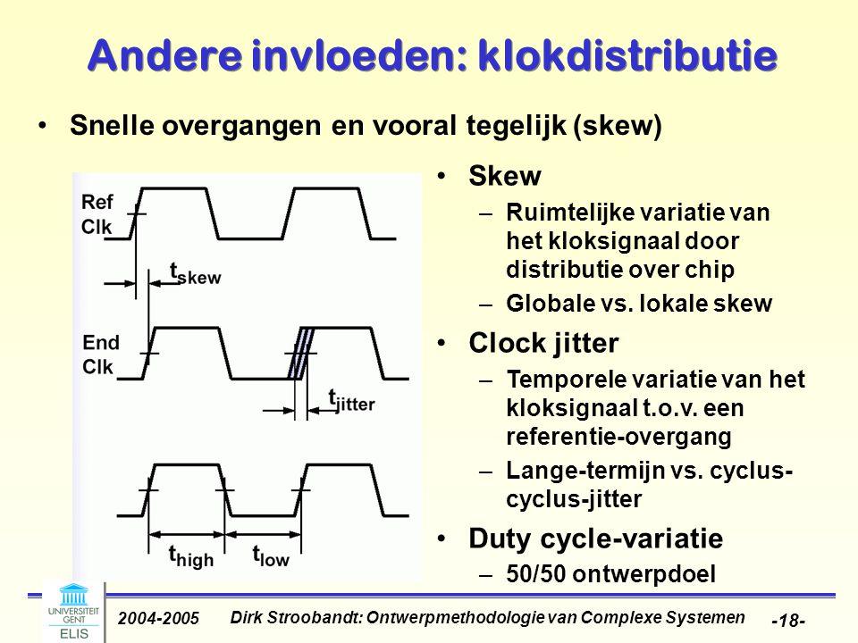 Dirk Stroobandt: Ontwerpmethodologie van Complexe Systemen 2004-2005 -19- Andere invloeden: klokdistributie Trend in klok-skew
