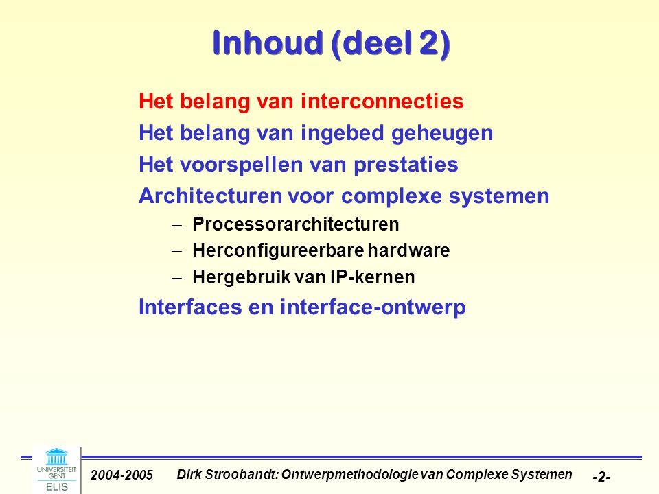 Dirk Stroobandt: Ontwerpmethodologie van Complexe Systemen 2004-2005 -3- Waarom zijn interconnecties belangrijk.