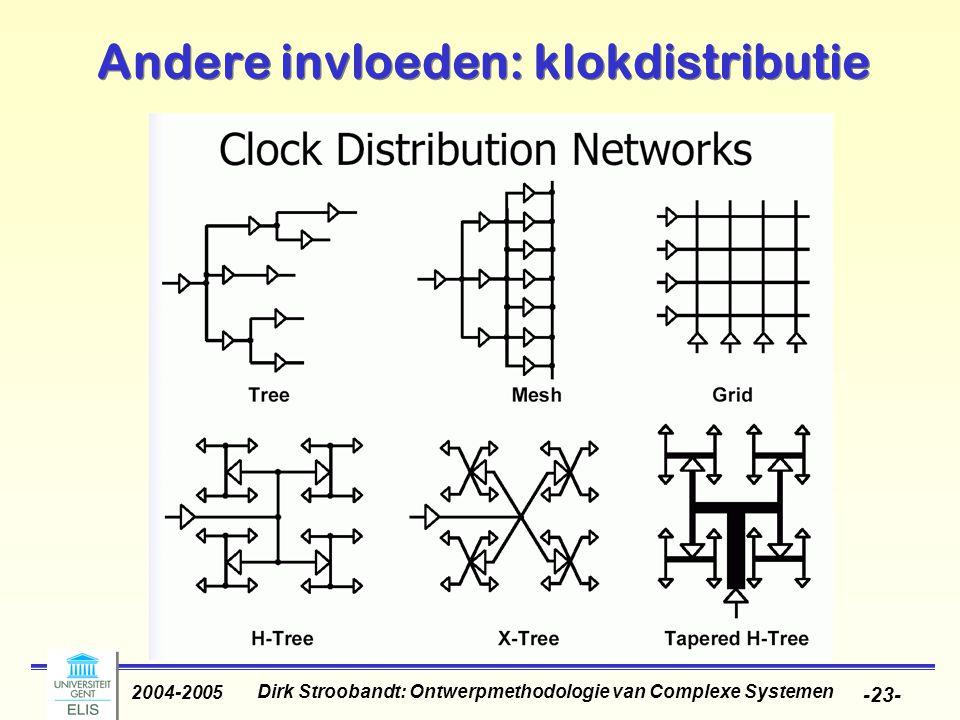 Dirk Stroobandt: Ontwerpmethodologie van Complexe Systemen 2004-2005 -24- Andere invloeden: klokdistributie