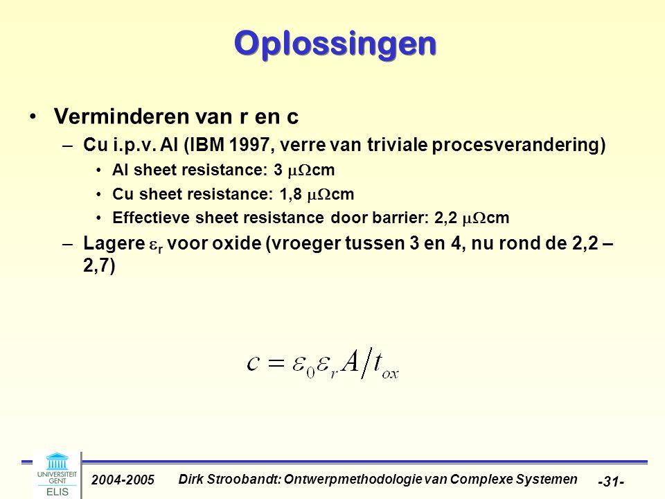 Dirk Stroobandt: Ontwerpmethodologie van Complexe Systemen 2004-2005 -32- Oplossingen Verminderen van r en c –Verbindingen schalen minder agressief –Verbindingen schalen niet in hoogte