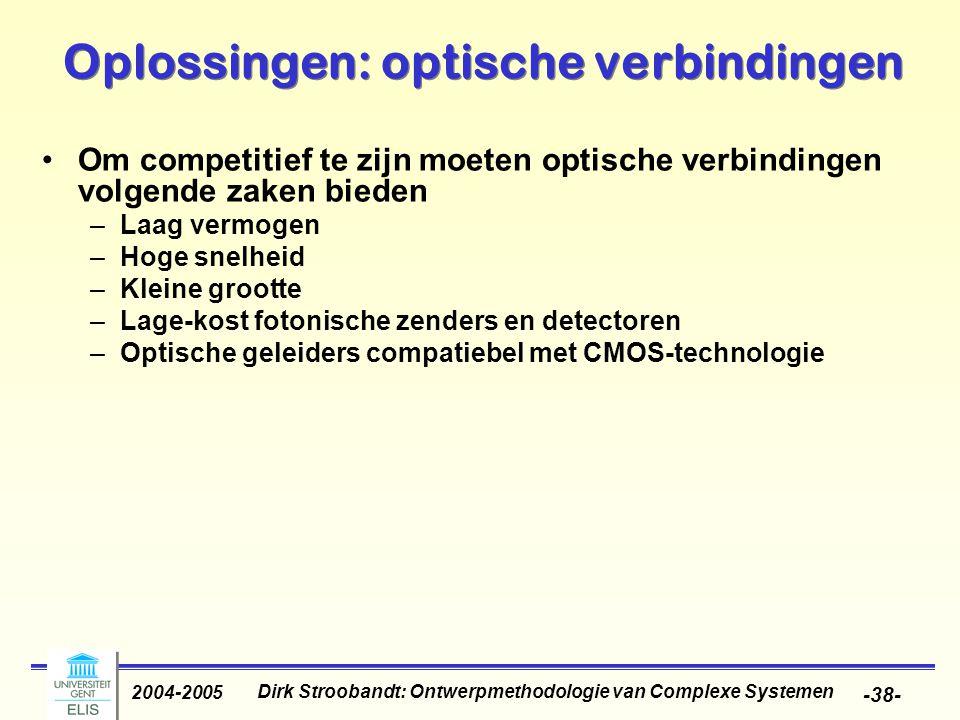Dirk Stroobandt: Ontwerpmethodologie van Complexe Systemen 2004-2005 -39- Oplossingen: soldeerpads Ook verbeteringen nodig voor verbindingen van en naar de chip Van wire bonding naar solder bumps Nieuw: sea-of-leads